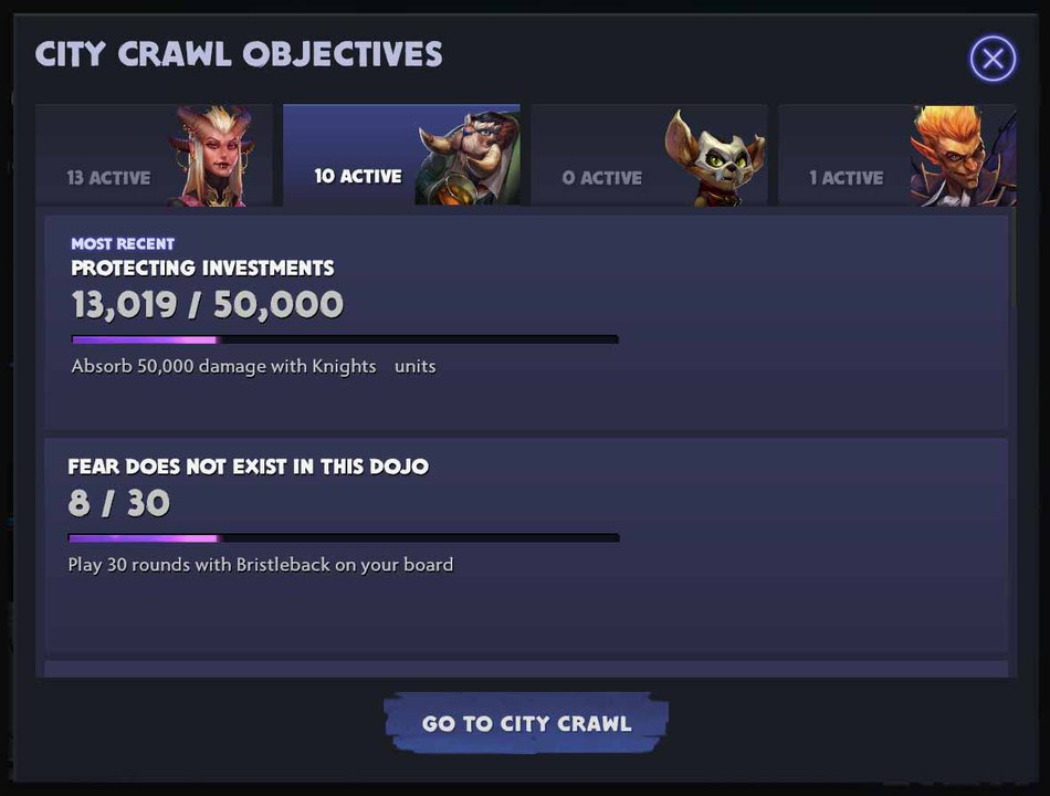 City Crawl Active Objectives